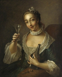 A Girl with a Bottle and a Glass