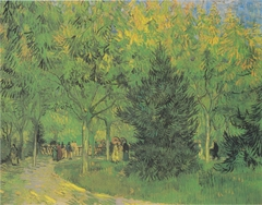 Path in the Park of Arles with walkers