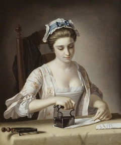 A Laundry Maid Ironing
