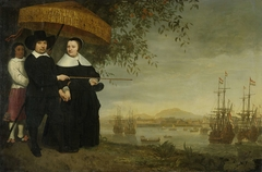 A Senior Merchant of the Dutch East India Company,presumably Jacob Mathieusen, and his Wife; in the background the Fleet in the Roads of Batavia.