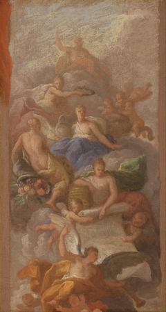A Sketch of Gratitude Crowned by Peace, with Other Allegorical Figures of Industry, Fame and Plenty