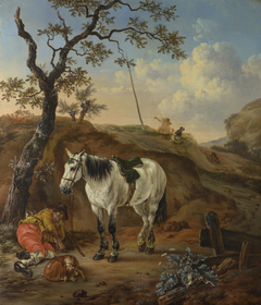 A White Horse standing by a Sleeping Man