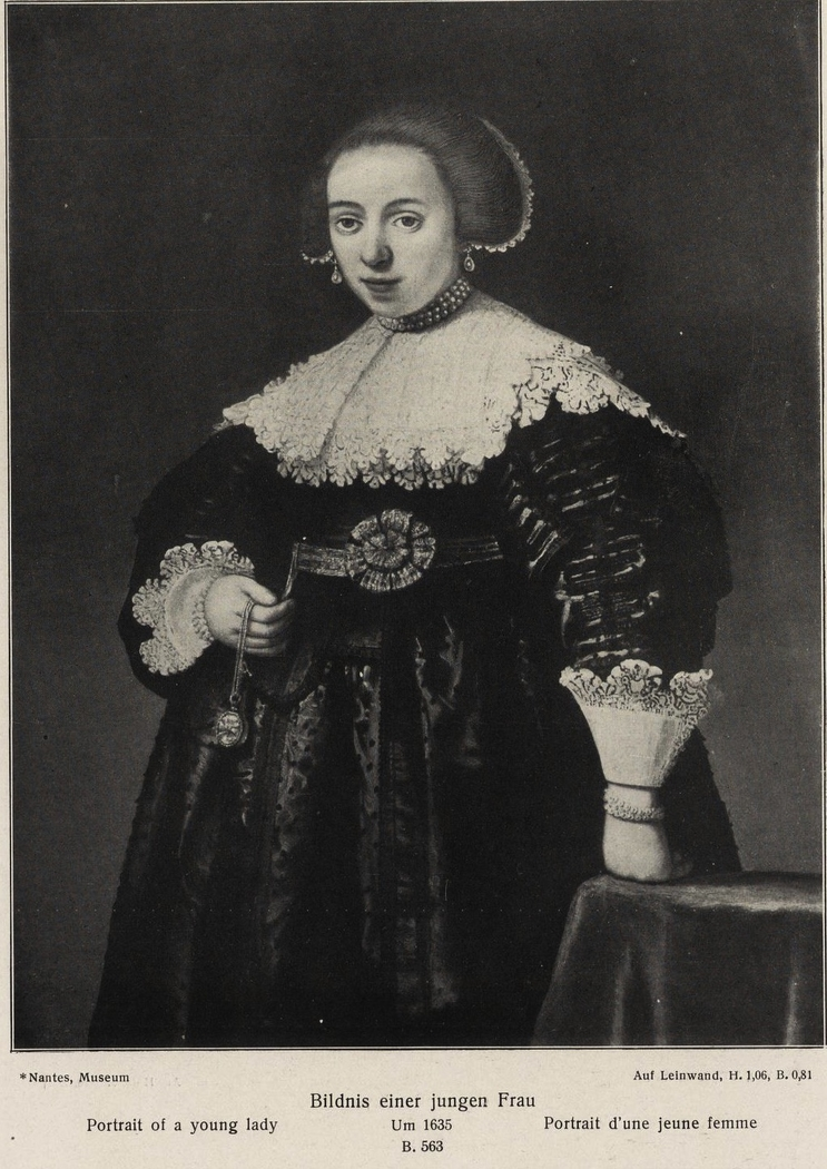 A Young Lady holding a Watch and a Chain in her Right Hand