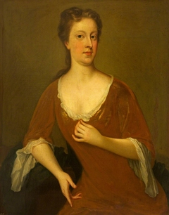 An Unknown  Lady in a Red Dress and Blue Cloak