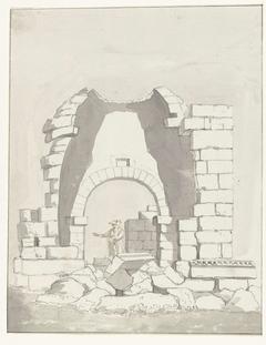 Antieke tempel binnen de vestingmuren van de oude stad Manduria