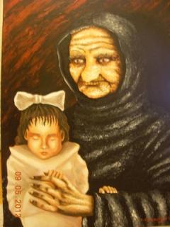 Awake Grandmother with sleeping Girl