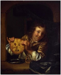 Boy with a Pancake Mask