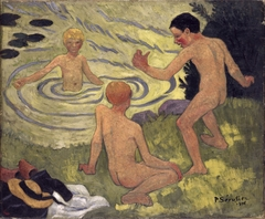 Boys on a river bank