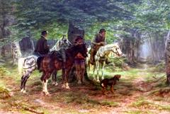 Cavaliers sous l'averse