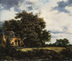 Cottage under Trees near a Grainfield