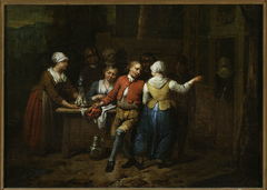 Dancing in front of a tavern