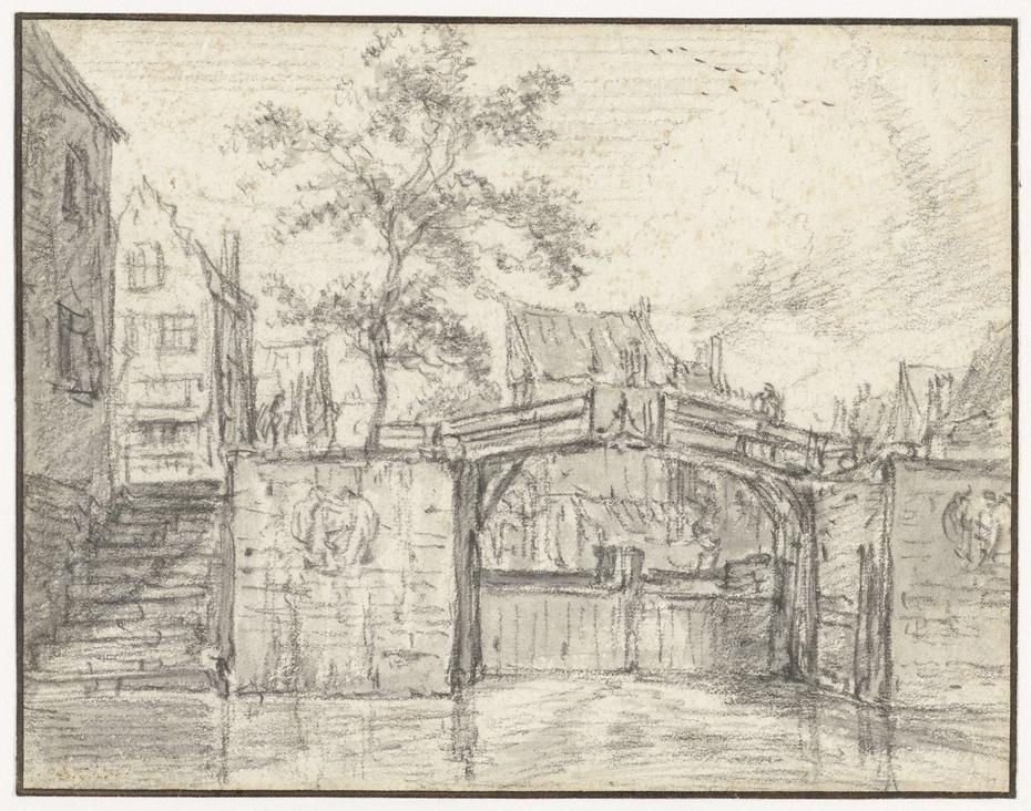 De oude Haarlemmersluis te Amsterdam