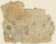 Demons Before Kamsa, preparatory drawing for the Kota Bhagavata Purana