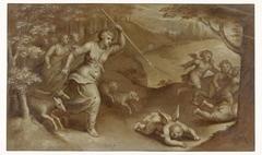 Diana verjaagt Cupido en zijn helpers die haar probeerden te strikken