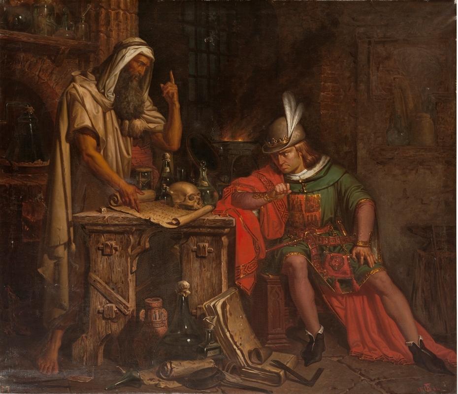 Don Pedro I de Castilla consulta su horóscopo a un moro sabio de Granada llamado Ben-Agatim