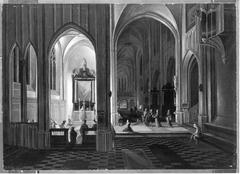 evening service in a gothic church
