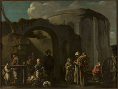 Family of beggars among ruins