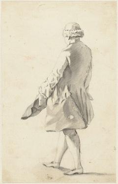 Figuurstudie van een op de rug geziene staande man met zijn steek in de linkerhand