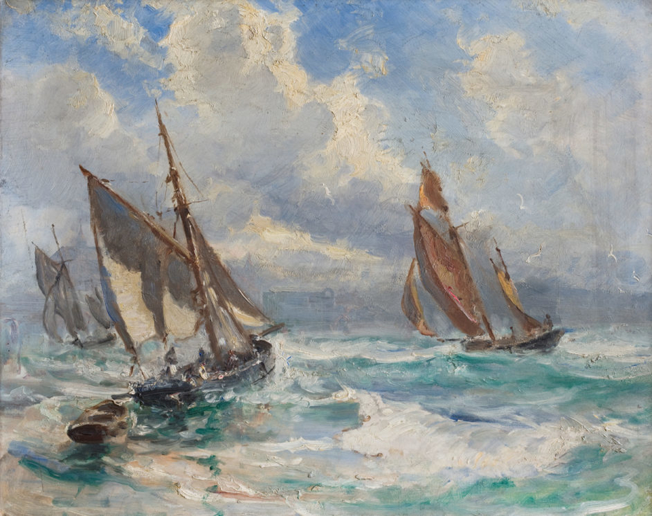 Fishing boats in stormy weather