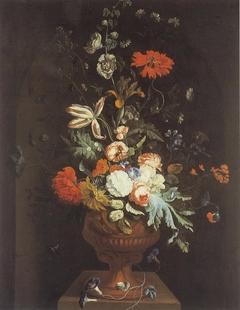 Flowerpiece in a Garden Vase on a Pedestal in a Niche