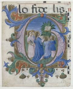 Fragment van een koorboek: initiaal G met zingende martelaren