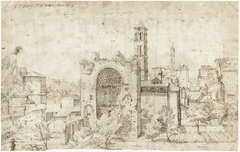 Gezicht op de absis van de tempel van Venus en Roma en het klooster S. Maria Nova, Rome