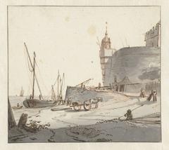 Gezicht op een haven bij een stadsmuur