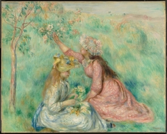 Girls Picking Flowers in a Meadow