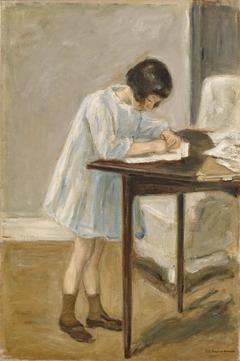 Granddaughter (standing girl writing)