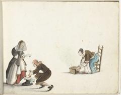 Heer strikt de schoen van een dame en een vrouw doet vuur in een stoof
