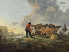 Herdsmen Tending Cattle