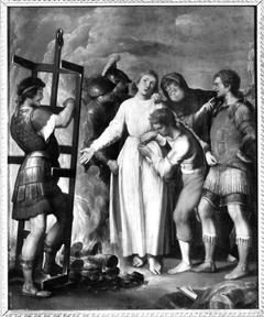 Hl. Laurentius, Rückseite: Teil eines hl. Christophorus (Nachfolger)