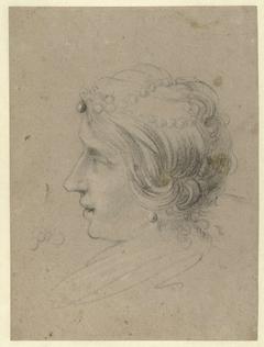 Hoofd van een vrouw met een parelsnoer in het haar, en profiel, naar links