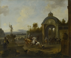 Hunting party at a fountain