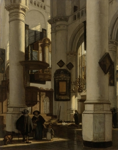 Interior of a Protestant, Gothic Church, with a Gravedigger in the Choir