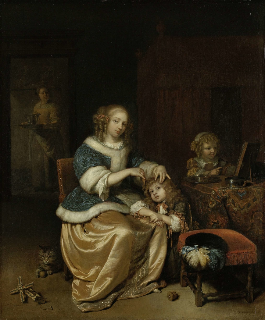 Interior with a Mother Combing her Child's Hair, Known as 'Maternal Care'
