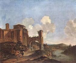 Italian Landscape with Santi Giovanni e Paolo in Rome