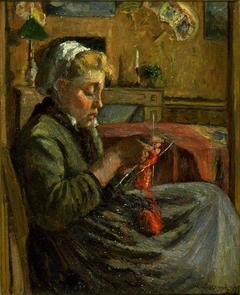 Jeune fille tricotant