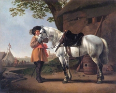 Landscape with a horse and a cavalier near a military camp