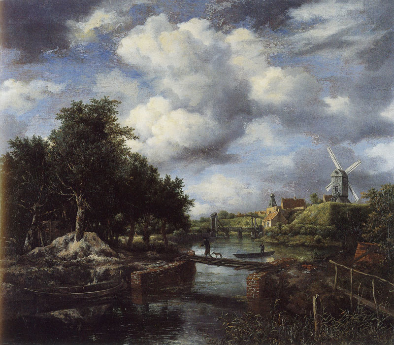 Landscape with a Windmill near a Town Moat