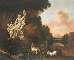 Landscape with Goats and a Statue of Laocoön