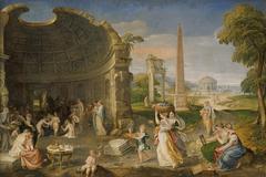 Landschaft mit antiken Ruinen und badenden Frauen