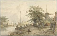 Landschap met bruggetje en huis aan weg langs een water