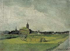 Landschap met hooikar, kerktorens en molen