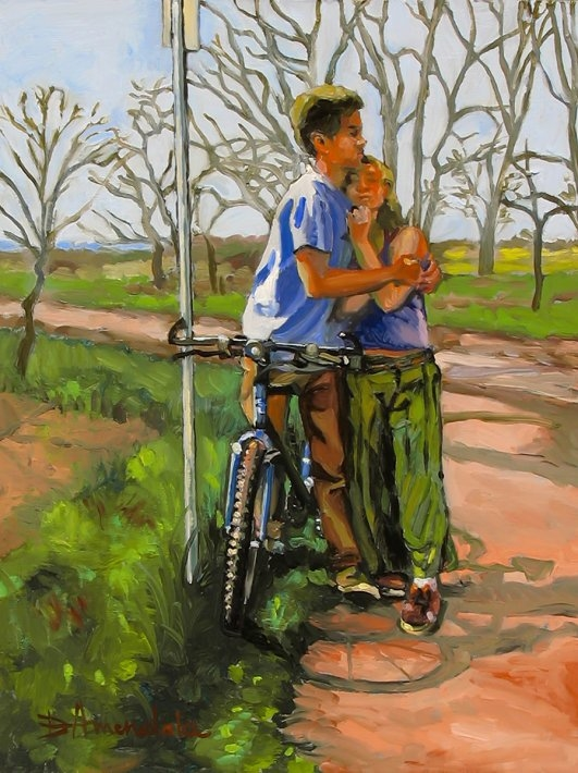 Lovers leaning against a bicycle