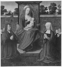 Madonna lactans with donor family in a garden