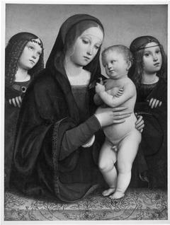 Maria mit dem Kinde und zwei Engeln
