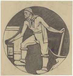 Mijnwerker met lamp en houweel