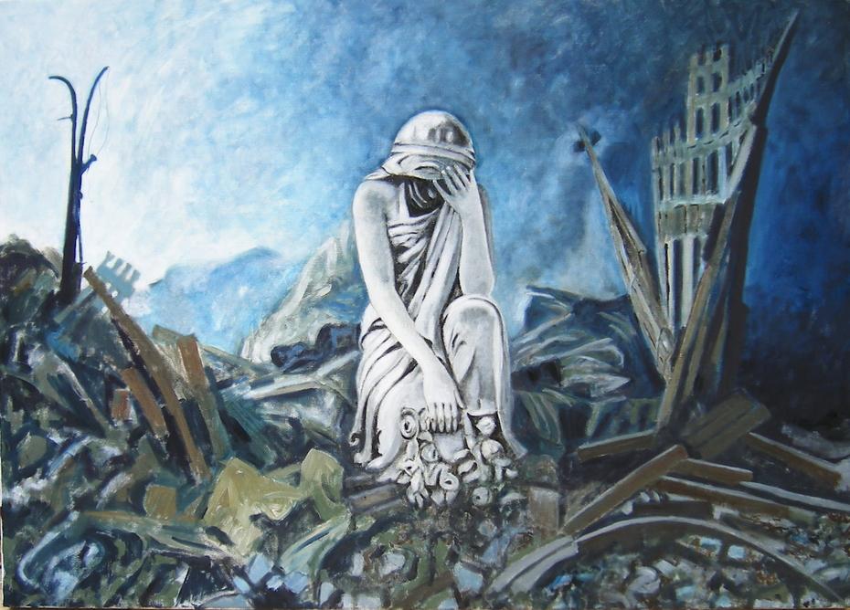 'Monument at Ground Zero', (2007), oil on linen, 140 x 100 cm.