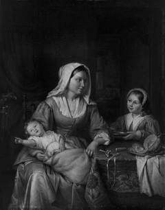 Mother and Two Children with Still Life